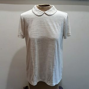 Madewell top with beaded collar M